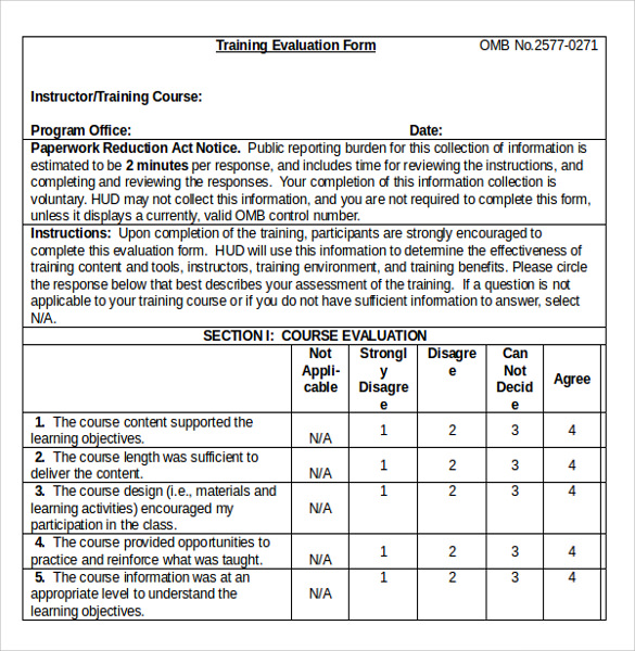 Training Evaluation Form   Samples  Examples  Format