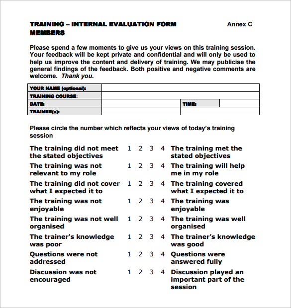 training evaluation form templates