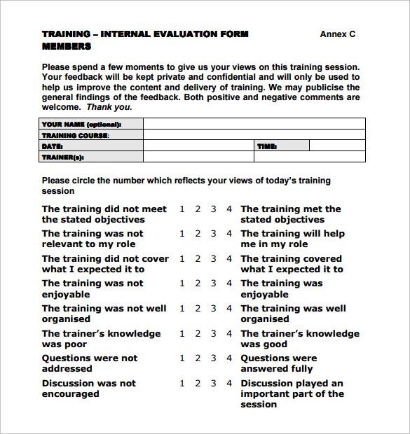 training evaluation template | datariouruguay