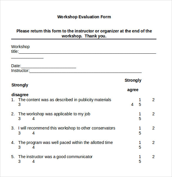 Workshop Evaluation Form 7Samples Examples Format – Workshop Evaluation Forms Sample