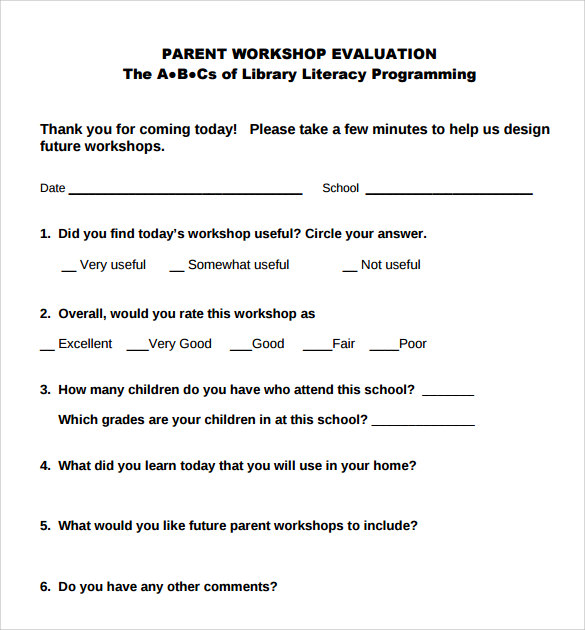 Workshop Evaluation Form  Samples  Examples  Format