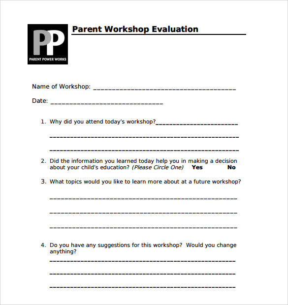 sample parent workshop evaluation form