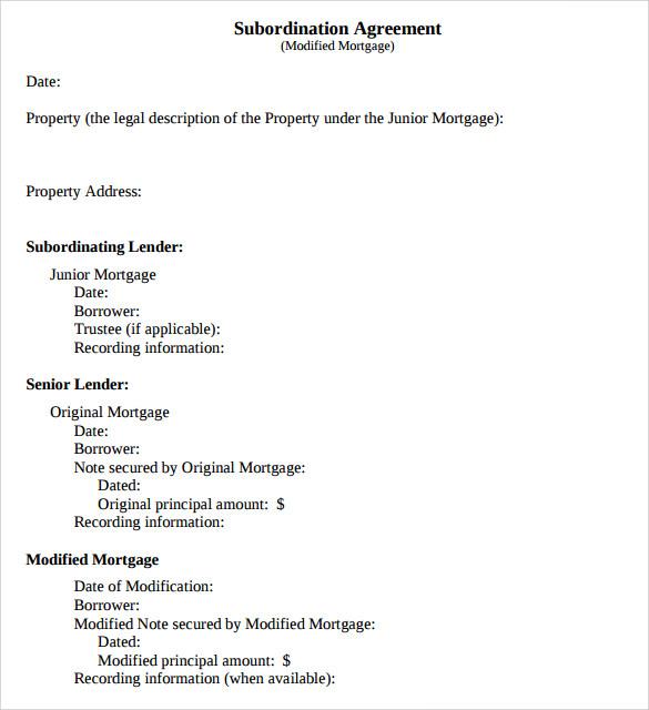 subordination lender agreement