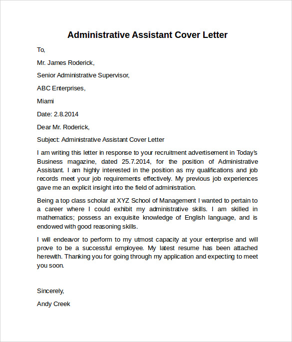 Administrative Assistant Cover Letter - 9+ Free Samples , Examples ...