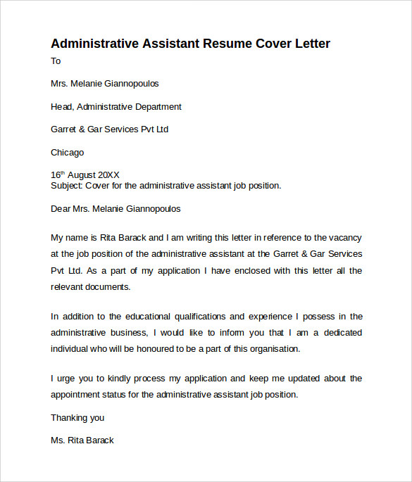 cover letter for finance admin assistant This cover letter example for an administrative assistant will help you to sell your skills and professional demeanor.