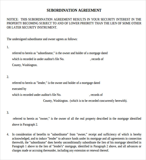 Sample Subordination Agreement - 8+ Example, Format