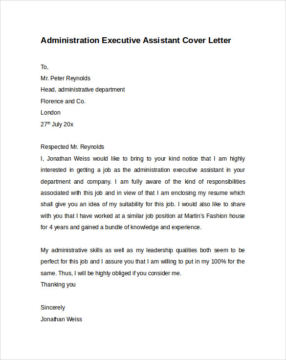 administrative executive assistant cover letter