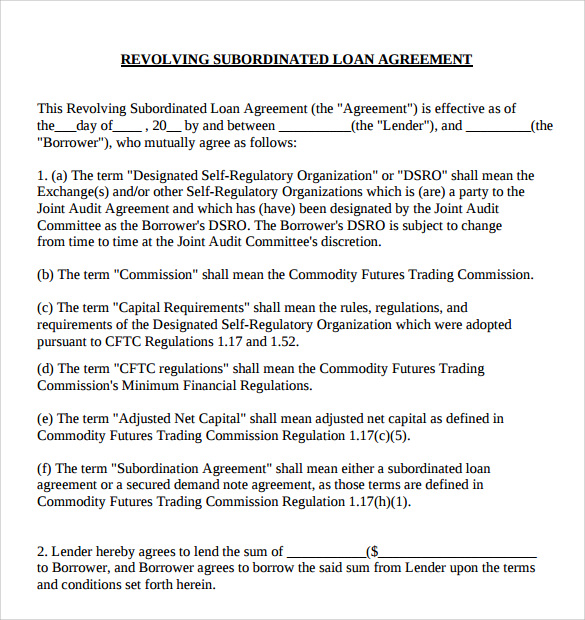 9 Sample Subordination Agreements