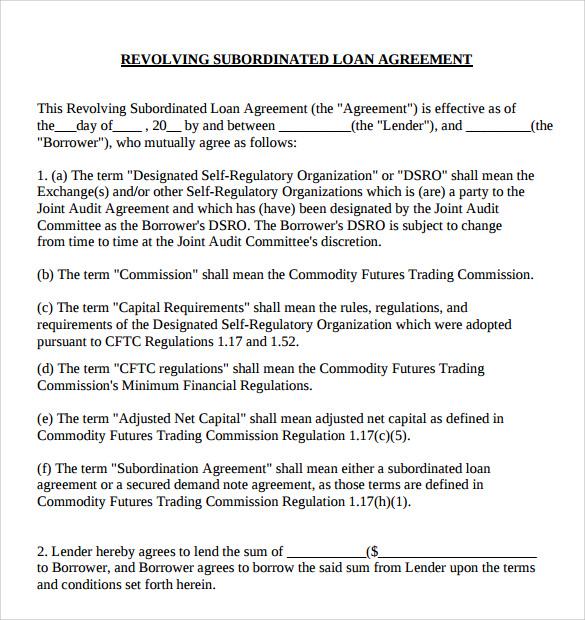 revolving subordinate loan agreement