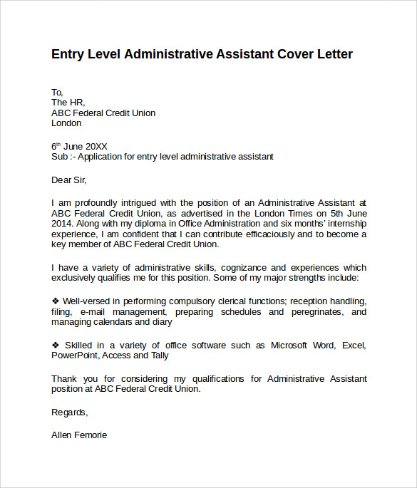 administrative assistant cover letter 9 free samples examples amp formats - Covering Letter Administrative Assistant