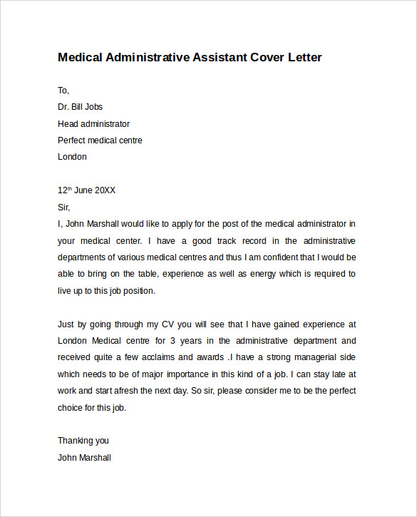 administrative assistant cover letter 9 free samples sample medical - Cover Letter For Medical Assistant Job