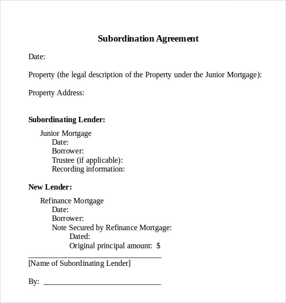Sample Subordination Agreement Subordination Nondisturbance And