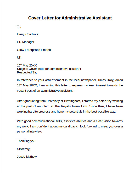 Administrative assistant cover letter 9 free samples for Executive assistant cover letter 2014