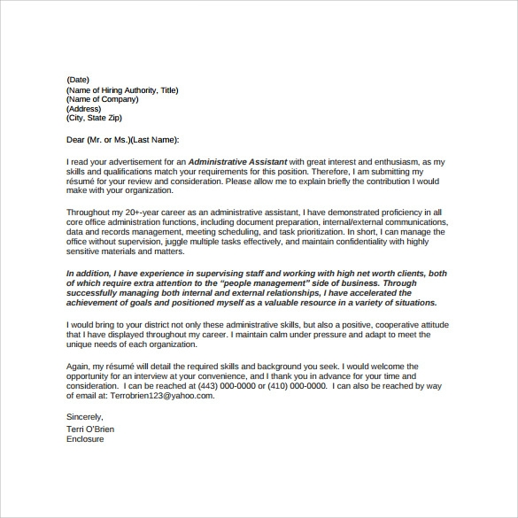 Administrative Assistant Cover Letter   Free Samples  Examples