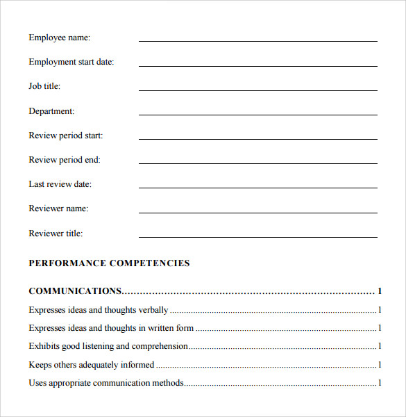 Sample Job Performance Evaluation Form 7 Documents In PDF Word – Sample Staff Evaluation