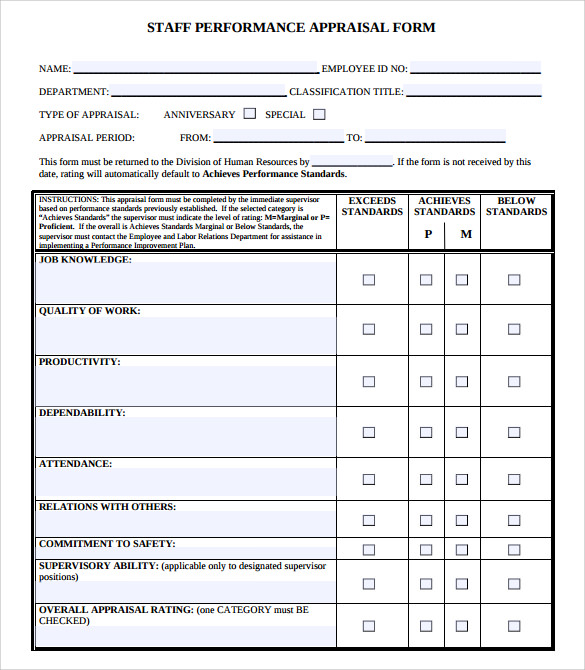 Sample Job Performance Evaluation Form   Documents In Pdf Word