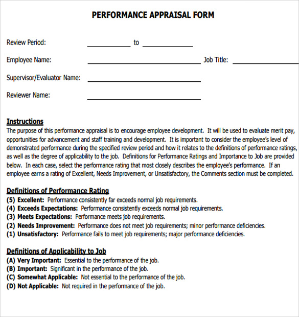 Performance Appraisal Form  Performance Appraisal Forms Samples
