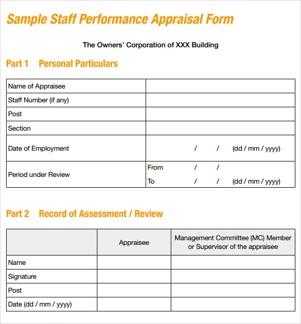 8+ Sample Job Performance Evaluation Forms  Format Of Performance Appraisal Form