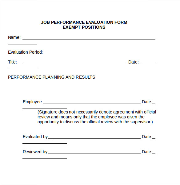job performance evaluation doc