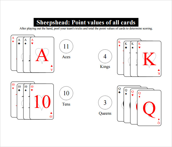 Sample Euchre Score Card   Documents In Pdf Word