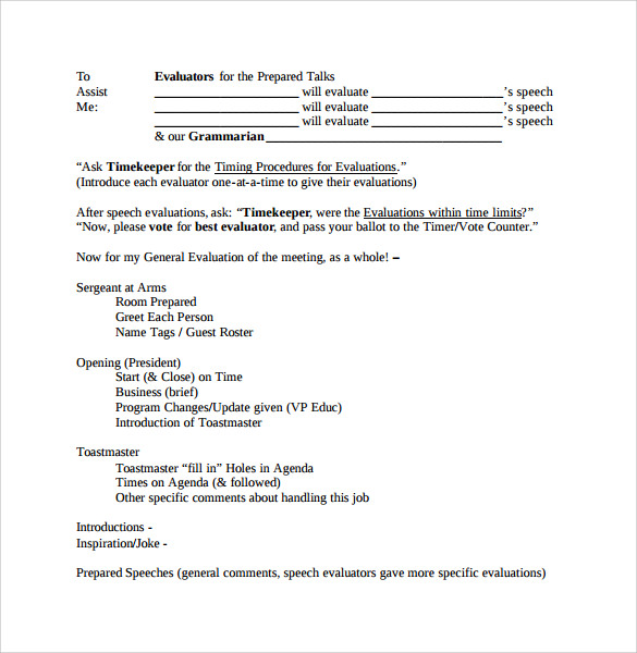 general evaluation template 8 samples examples amp format