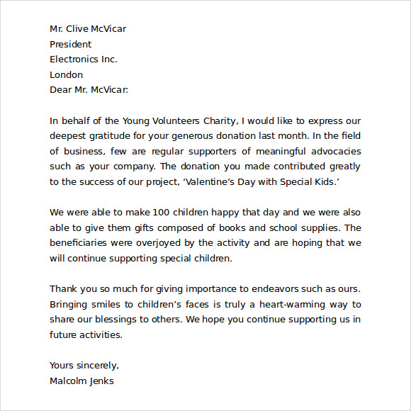 Sample Thank you Letter to Customers for Business