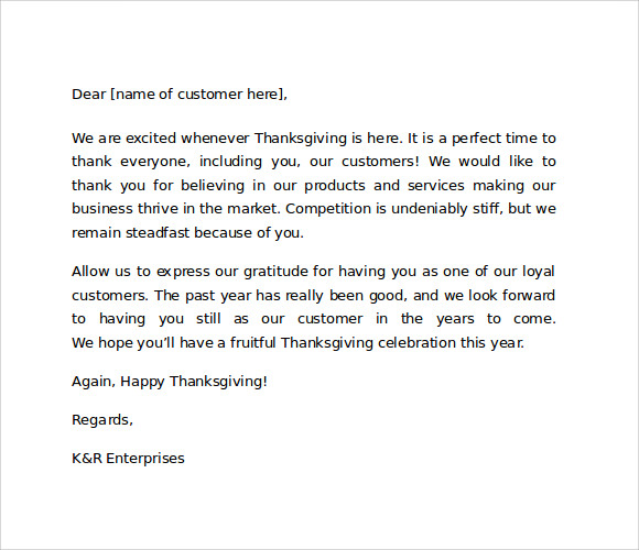 7 sample thank you for your business letters samples examples sample thank you letter to customers for business expocarfo Image collections