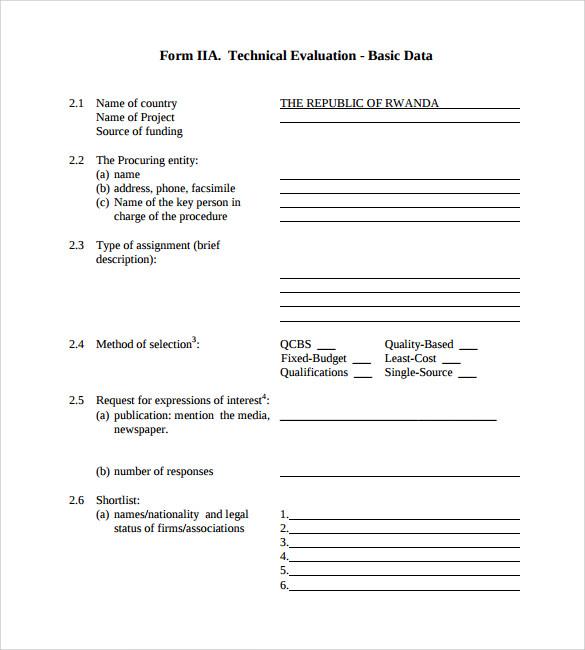 technical evaluation basic data