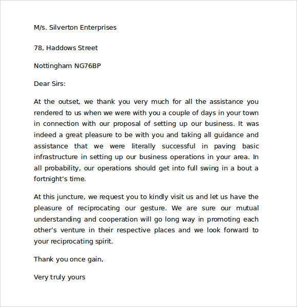 sample thank you for your business letter example