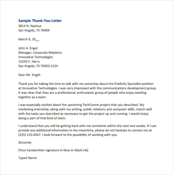 Sample Thank You for Your Business Letters 7 Samples Examples – Thank You Letter Format Example
