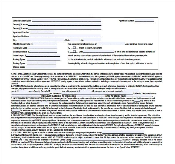Sample Lease Agreement   9+ Documents In PDF, Word