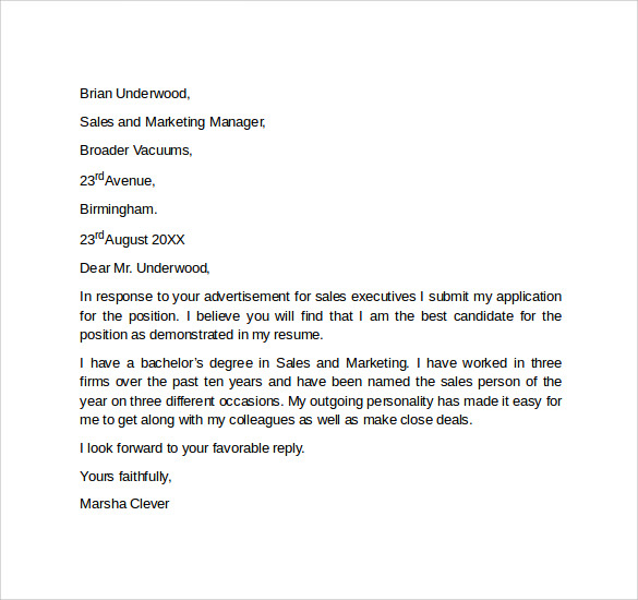 cover letters sales Use this sales cover letter example as a template to write your own interview winning one.