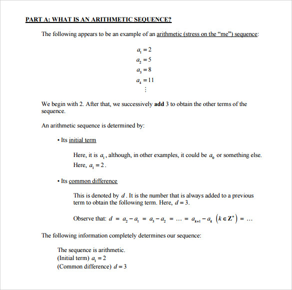 Sample Arithmetic Sequence Example   Documents In Pdf