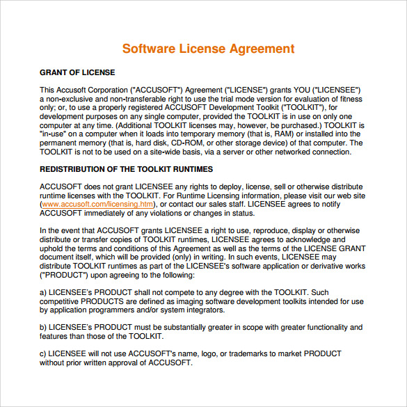 Sample Software License Agreement - Example, Format
