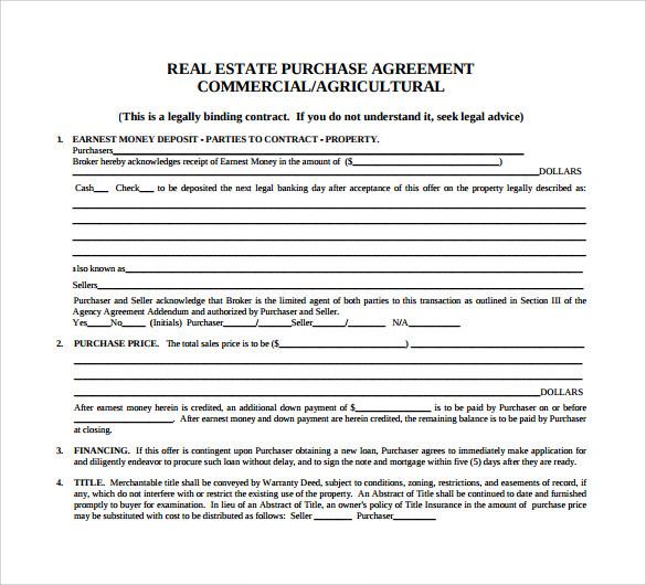 Real Estate Sales Contract Purchase Agreement Template Simple