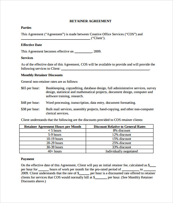 retainer agreement pdf