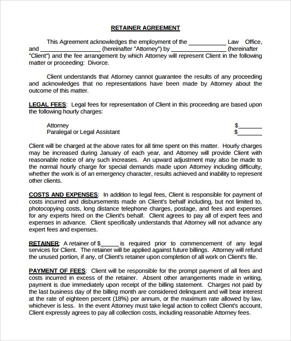Sample Retainer Agreement 6 Example Format – Retainer Agreement Template
