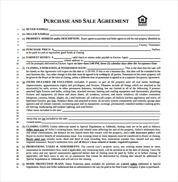 Sample Purchase And Sale Agreement   Free Documents In Pdf Word