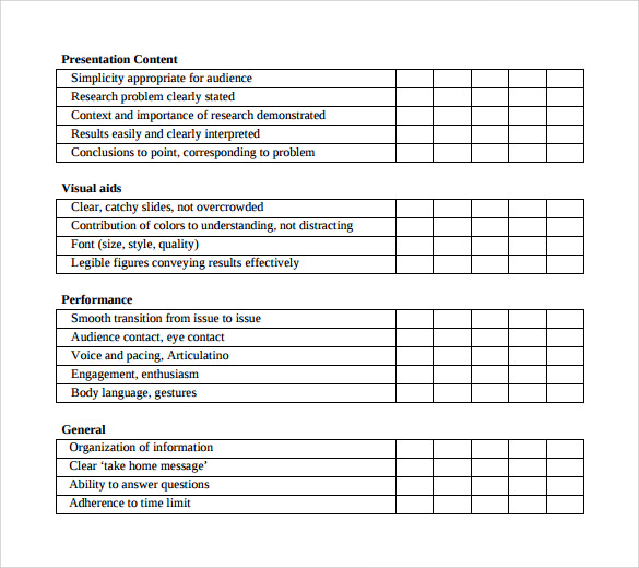 Presentation Evaluation Forms – 8+ Free Samples, Examples & Formats