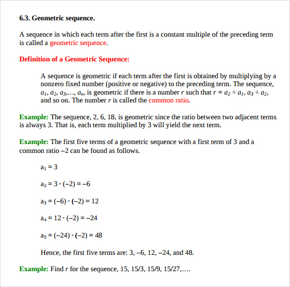 Sample Geometric Sequence Example   Documents In Pdf