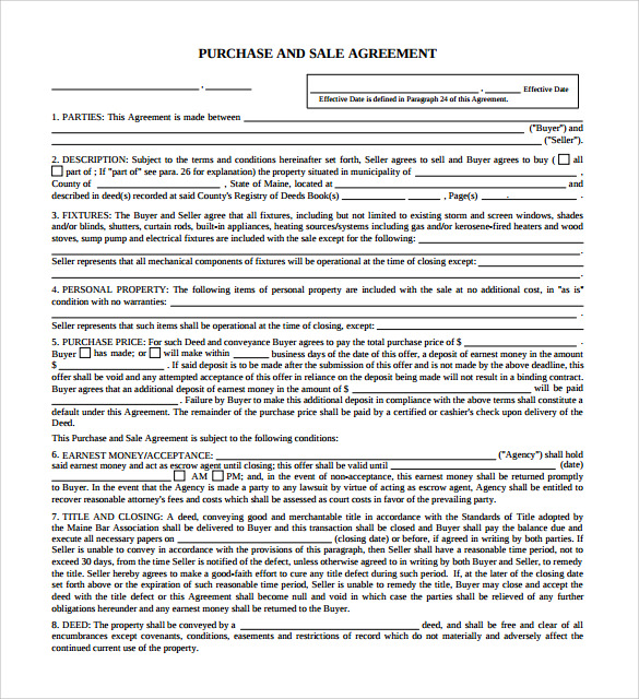 Purchase And Sale Agreement   Samples Examples  Format