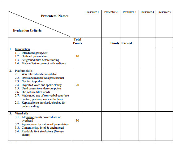 Presentation Evaluation Forms   Free Samples Examples  Formats