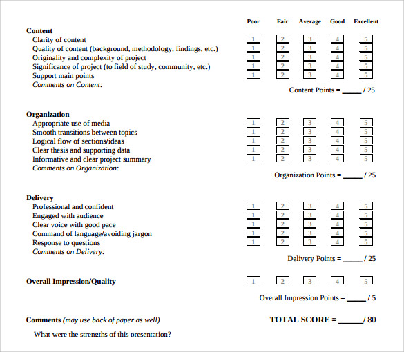 oral presentation evaluation form template