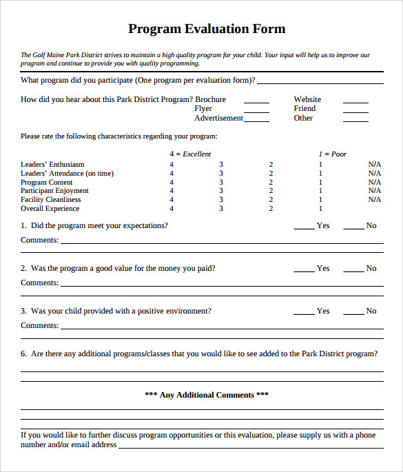Program Evaluation Form   Download Free Documents In Pdf Word