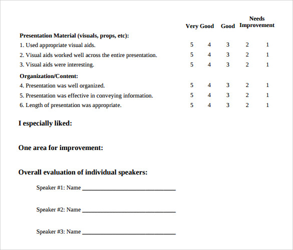 Sample Evaluation Forms Hr Training Evaluation Form Evaluation Form