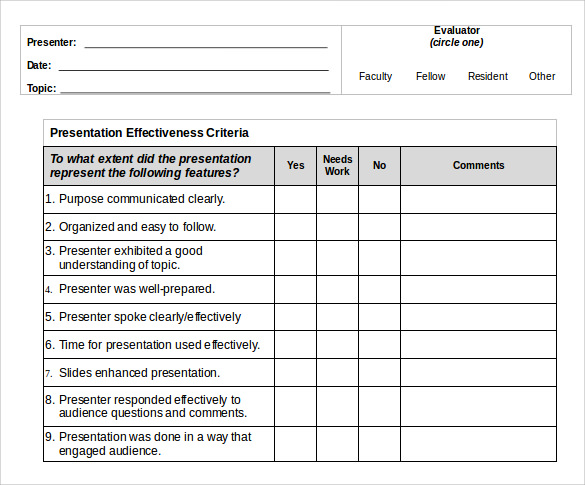Presentation Evaluation Template Formal Presentation Evaluation