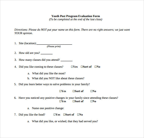 Program Evaluation Form 7 Download Free Documents in PDF Word – Program Evaluation Form