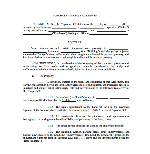 purchase and sale agreement form