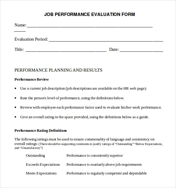 Performance Evaluation Form   Free Samples  Examples  Formats