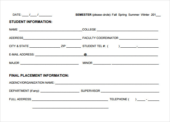 Student Evaluation Form
